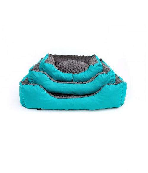 Kvalitný pelech pre psa Athos - pelech pre psa z cordury a mikro plyše, sivý - tyrkysový | davidog.sk