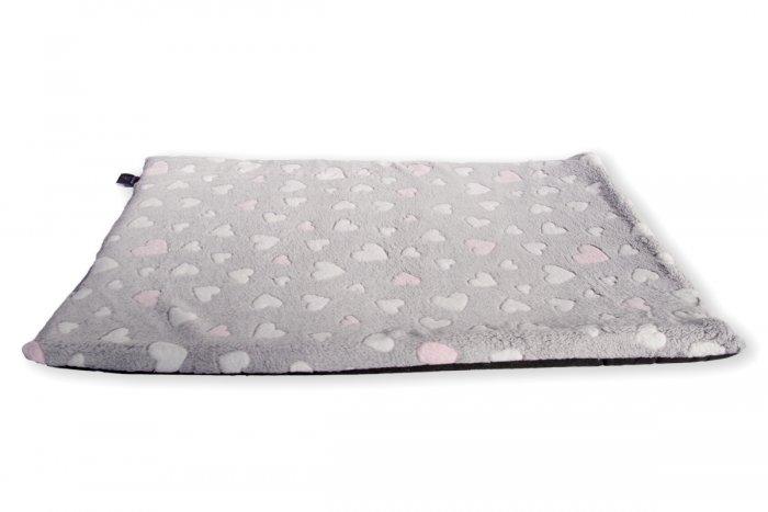 Pohodlný matrac pre psa Love, vzor sivý so ružovými srdiečkami | Davidog.sk